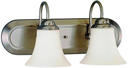 "SATCO Products 60/1913 Vanity Light, Bn, 2-Light, Satin Wht Glass, Fl, 13"" x 20.5"" x 20.5"""