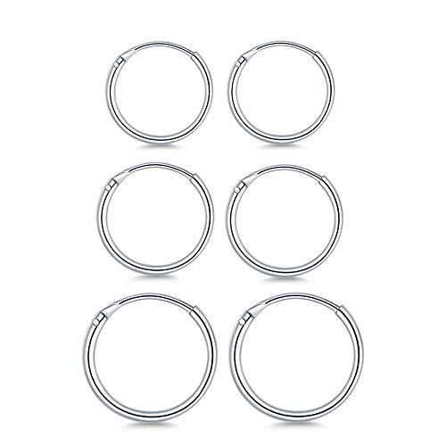 (3 Pairs Sterling Silver Small Endless Hoop Earrings Set, Unisex Cartilage Earrings Nose Lip Rings Body Piercing Jewelry)
