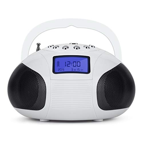 Mini Clock Radios, Bluetooth Speaker MP3 Stereo System Portable Powerful FM Alarm Clock Radio with Card Reader, USB and AUX in (Micro USB) Stereo White (SE20)