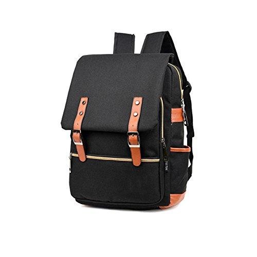 BURFLY Persönlichkeit Retro-Umhängetasche, Mode Männer Tasche Canvas Rucksack Frauen Oxford Reisetaschen Retro Rucksäcke Schwarz