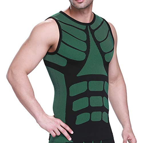 Voberry Men Vest Body-Buildings Body-Shaping Muscle Workout Waist Corsets Shaping Slimming Vest Tank Green