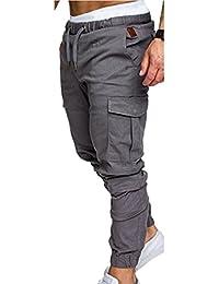 QD-CACA Men's Drop Crotch Jogger Twill Pants with Cargo Pockets