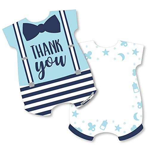 It's a Boy - Shaped Thank You Cards - Blue Baby Shower Thank You Note Cards with Envelopes - Set of 12