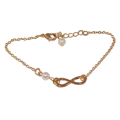 Cate & Chloe Ashlyn Gold Infinity Bangle Pearl Bracelet, Beautiful Yellow Gold Plated Chain with Infinity Charm Design & Cultured Pearls, Unique Fashion Statement Jewelry Bracelets ()