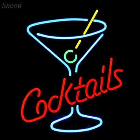LinC Neon Sign- Cocktails Martini Glass Home Decor Light for Bedroom Garage Beer Bar and Nightclub, Real Glass Neon Light Sign for Wall Decor Art