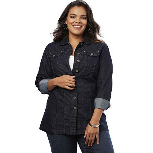 Ladies Jacket Long - Roamans Women's Plus Size Long Jean Jacket - Black Blue Denim, 18 W