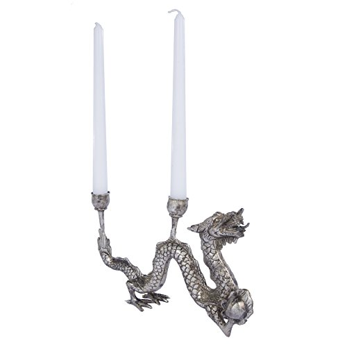 Dragon Candle Holder BALERION Shows Stylized Dragon Designed For Two Taper Candles. Bronze Metal Handfinished by Artisans in Bali in Antiqued Silver Color. Each Item Is Unique Due To Craft - Holder Candle Patina