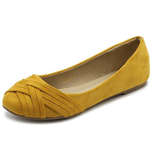 Ollio Women's Ballet Shoe Cute Casual Comfort Flat ZM1987(8.5 B(M) US, Mustard)