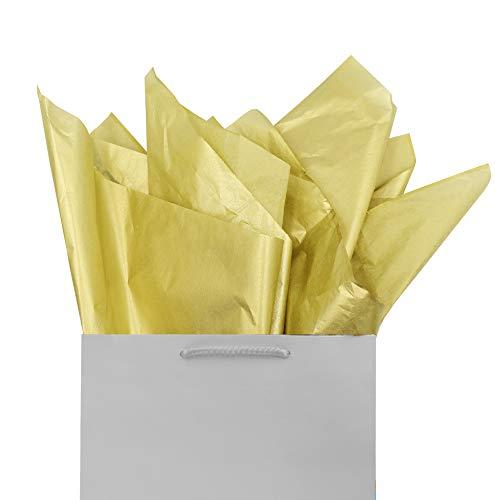 Tissue Gift Wrap Paper 60 Sheets Metallic Gold Set Premium Quality Recyclable Bulk, 26