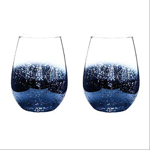 (European-style electroplating lead-free crystal glass cup, star sky big belly cup, juice cup, heat-resistant cup, beer mug, red wine glass, star sky egg cup (blue) 2 piece set)