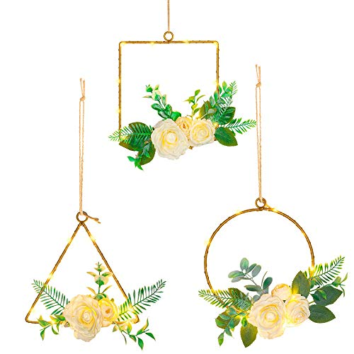 FUNPENY LED Floral Hoop Wreath with Lights, Peony Flower Pre-lit Artificial Eucalyptus Wreath, Home Decorations for…