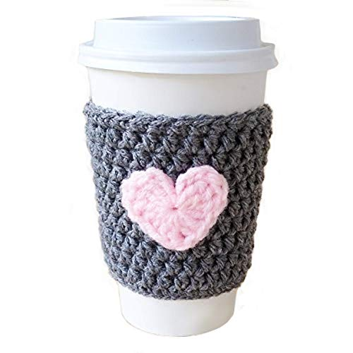 Coffee Cozy Gray with Pink Heart