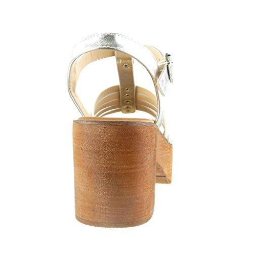 correa Plata Talón alto Zapatillas plataforma tachonado de madera Angkorly mujer ancho Sandalias CM Moda correa zapatillas Tacón multi 7 de SWvaqOwHn