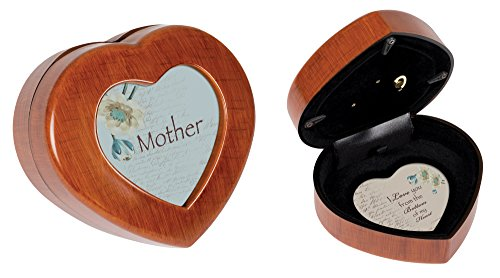 Mom Woodgrain Mini Heart Music Box / Jewelry Box Plays Wind Beneath My Wings (Box Mini Music)