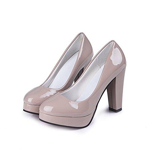 Tanpell Women's Round Toe Waterproof Platform Patent Leather High Heels Shoes Light (Patent Round Toe Platform)