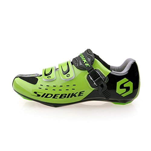 Road Bike Shoes Men's Racing Cycling Shoe (SD001-Green Black, US 13 / EU 46)