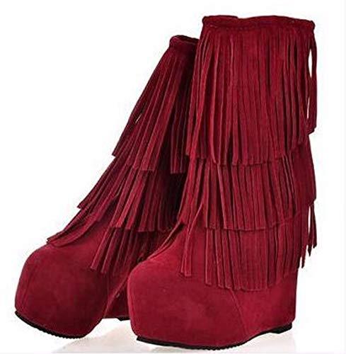 HBDLH Damenschuhe Herbst-Winter-Glasierte Damenschuhe Steigung Heels Nahen U-Stiefel Fransen High Heels Hohe Stiefel Schuhe mit Einem Stiefel.