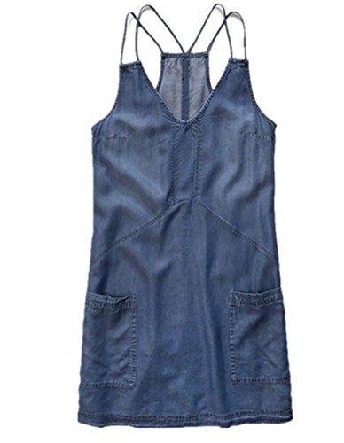 Sciolto Corti Eleganti Senza E V Vestiti Donna Senza Maniche Schienale Abiti Ragazza Tasche Eleganti Estivi Casual Blu Scollo Vestito Jeans IUn45