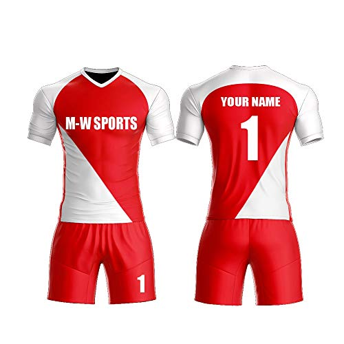 Custom red/White Sport Jerseys Set Full Sublimated Customize Team Soccer Uniform add Your Team Name and Numbers (M, red2)