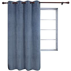 HOLKING Thermal Insulated Velvet Blackout Curtain Super Soft Texture Luxury Window Panels for Theater Show Studio Villa (Grayish Blue 52x84-inch 1Panel)