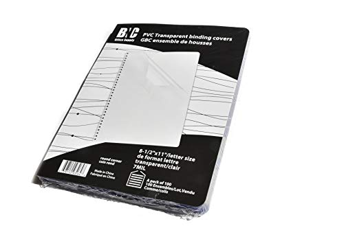 - BNC 7 Mil 8-1/2 x 11 Inches, Letter Size PVC Binding Covers with Round Corner - Pack of 100, Clear