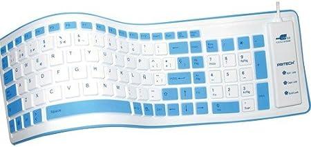 Teclado Silicona USB Teclado DE Silicona ESPAÑOL Enrollable Blanco Keyboard Waterproof Silicone - PRITECH con Ñ Y Acentos Castellano - RESITENTE Agua ...