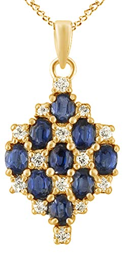 AFFY Simulated Blue Sapphire & White Topaz Cluster Pendant Necklace in 14k Yellow Gold Over Sterling Silver (1.68 Cttw) (Cluster Sapphire Pendant Genuine Blue)