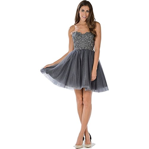 Ed Young Womens Lace Bodice Strapless Dress Grey Extra Large ()