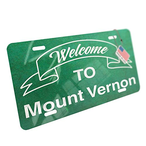 NEONBLOND Green Sign Welcome to Mount Vernon Aluminum License Plate