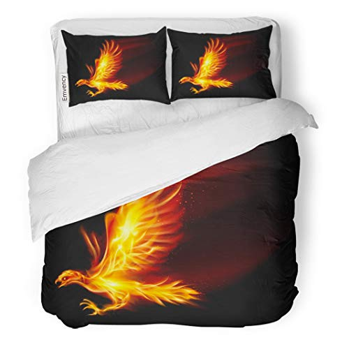 (Semtomn Decor Duvet Cover Set Full/Queen Size Red Fire Raster Flaming Hawk on Fenix Wing Bird 3 Piece Brushed Microfiber Fabric Print Bedding Set Cover )
