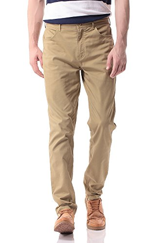 - Pau1Hami1ton PH-17 Men's Slim Stretchy Casual Chinos Pants Tapered Work Weekend Office(40,Khaki)