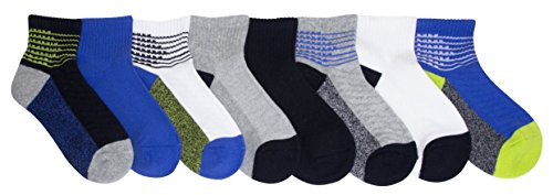 Stride Rite Boys' Toddler 8-Pack Quarter, blocked athletic/black, Sock: 6-7.5 / Shoes: - Pair 3 Socks Cotton Quarter
