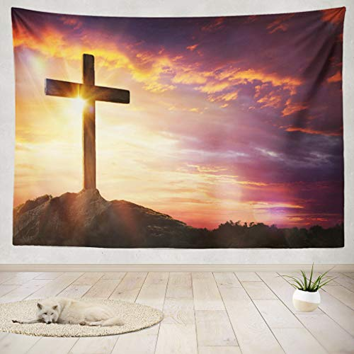 (Summor Tapestry Wall Hanging Jesus Christ Cross Easter Sunrise Faith Christian Home Decorations Living Room Bedroom Dorm 80x60)