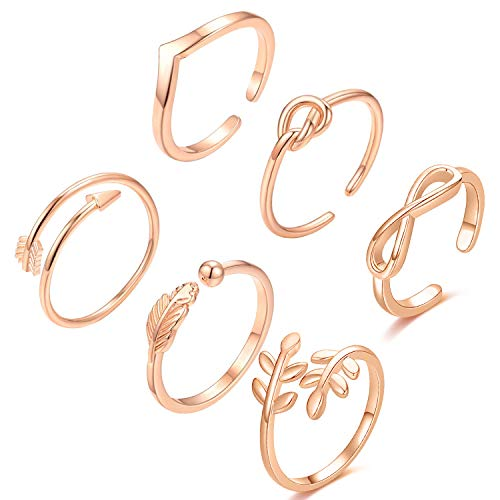 KOHOTA 6PCS Simple Adjustable Rings Set Arrow Love Knot Wave Rings for Women Open Rings Set Stackable Thumb Knuckle Rings Valentines Gift for Her Mom Girlfriend