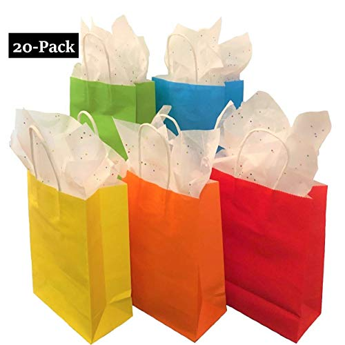 Paper//Party//Gift//Birthday//Wedding Bag with Handle 20-Pack, 5 Colors Color Everyday Birthday Party Favor Bags