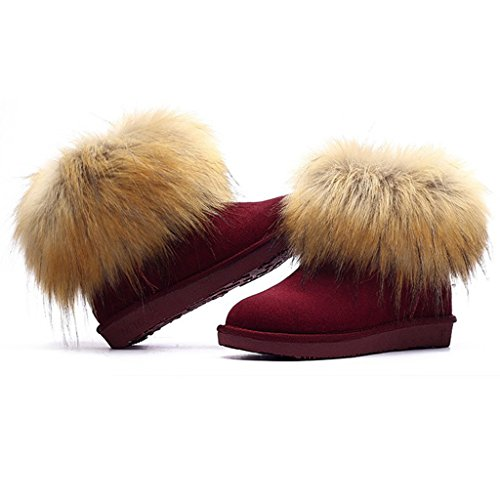 Chestnut Red Lady's Wine Ankle Snow Boots Fashion Flat wSqpHZ