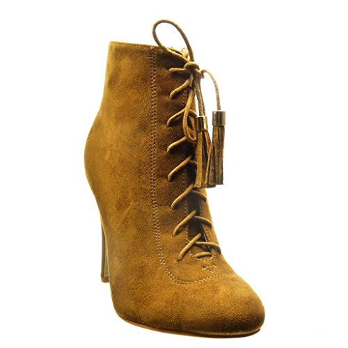Angkorly - Scarpe da Moda Stivaletti - Scarponcini low boots sexy donna pon pon frange lacci Tacco Stiletto tacco alto 10.5 CM - Cammello