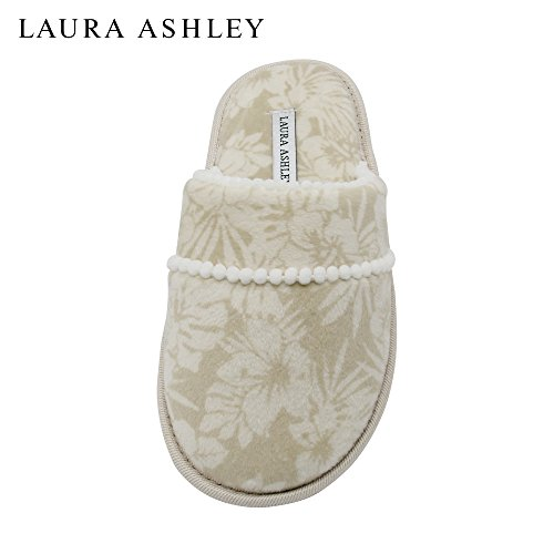Laura Ashley Ladies Printed Scuff Slippers with Pom Trim & Memory Foam Sole Tan Orchid SZrHiwfL
