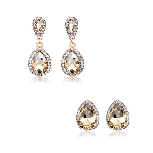 iWenSheng Chanpagne Crystal Earrings Hypoallergenic