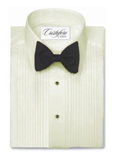Laydown Collar Tuxedo Shirt 1/4 Inch Pleat Microfiber, Ivory