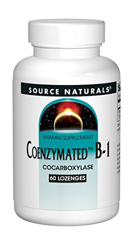Source Naturals Coenzymated B-1 25mg Fast Acting Thiamin Cocarboxylase Quick-Dissolve – 60 Lozenges