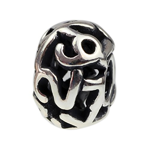 Number 7 Sterling Silver Charm - Beads Hunter Jewelry 1-9 Number Goes Around Design Decorative Spacer .925 Sterling Silver Bead Charm