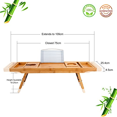 Wooden-Life Bathtub Caddy Tray& Laptop Desk with Foldable Legs, 2 in 1 Wisdom Design – Luxurious Bathtub Caddy with Extending Sides, Tablet Holder, Reading Rack,Cellphone Tray and Wine Glass Holder by Wooden-Life (Image #4)