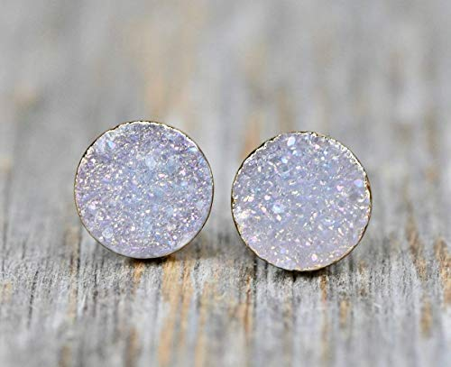 White Lilac Druzy Stud Earring- Real Drusy Quartz Gemstone- Women's Jewelry Gift Idea- 10mm