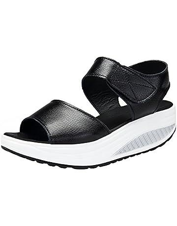 5bef83f4e6d90 DAFENP Women's Leather Comfort Breathable Peep Toe Walking Wedges Sandals  Platform Heeled Shoes (4 UK