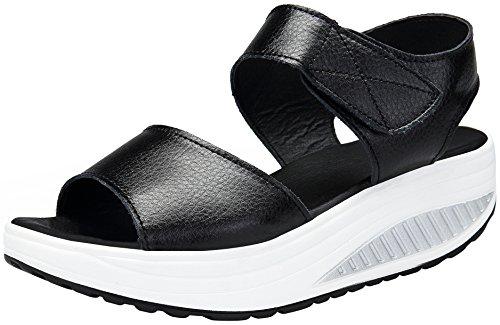 puuyfun Women's Platform Heeled Leather Comfort Peep Toe Walking Wedges Sandals (8, -