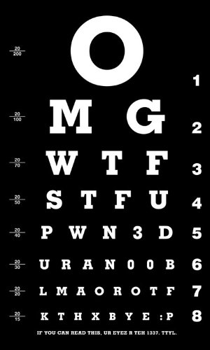 Internet Geek Eye Chart Omg Wtf T-Shirt | L