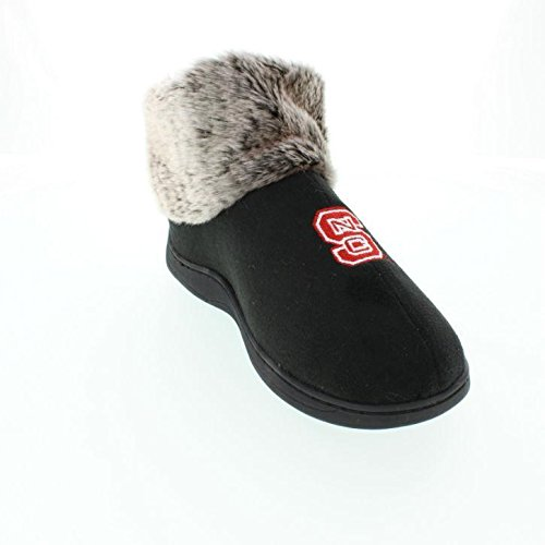 NCS14-2 - NC State Wolfpack Faux Sheepskin Furry Top Slippers - Medium