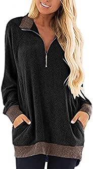 Women Long Sleeve Stand Collar Zipper Pullover Casual Sweater Sweatshirt T-Shirt Tunic Blouse Tops with Pocket