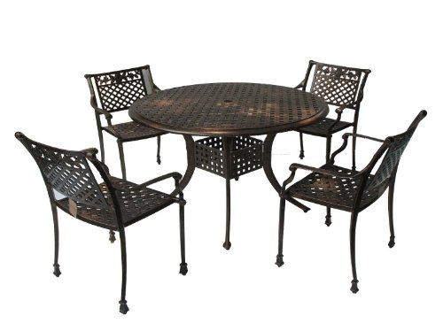 Best Selling Sebastian Cast Aluminum Dining Set, Antique Copper Finish